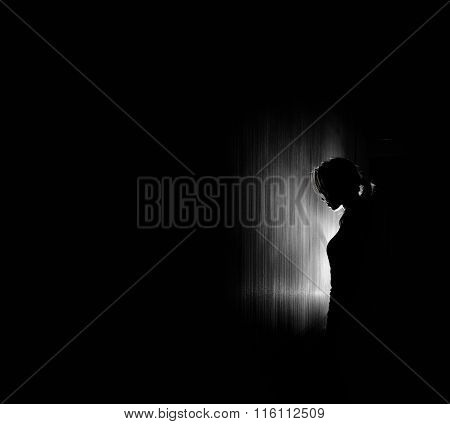 Beautiful Woman Silhouette, Black Background