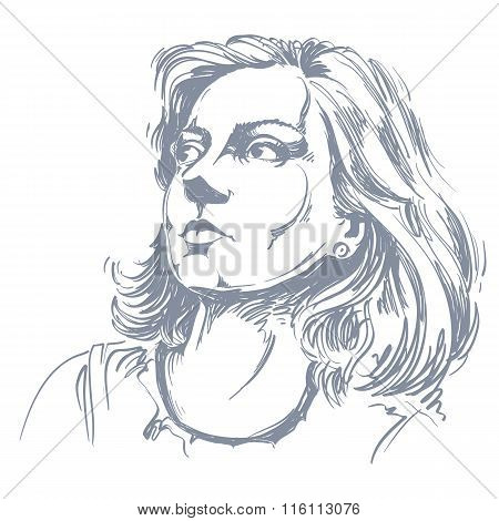 Graphic Vector Hand-drawn Illustration Of White Skin Attractive Romantic Lady With Stylish Haircut.