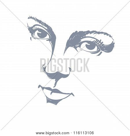 Black And White Illustration Of Lady Face, Delicate Visage Features. Eyes And Lips Of A Woman Expres