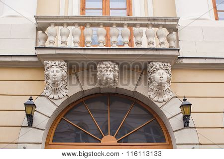 Architecture And Windows Of Ancient Renaissance Style Classical Building