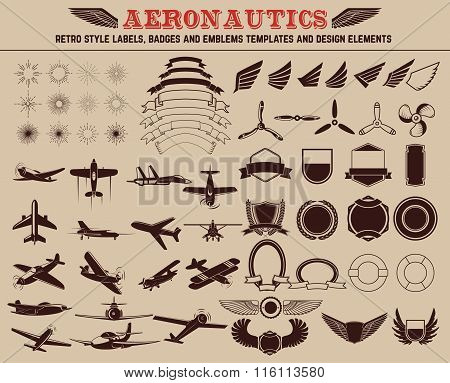Set Of Aeronautics Labels Templates