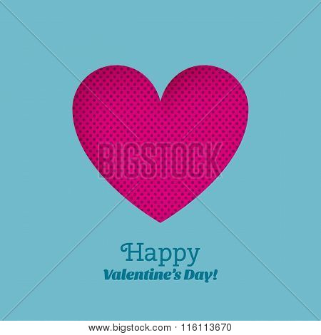 Greeting Card Happy Valentine's Day With Carved Hearts