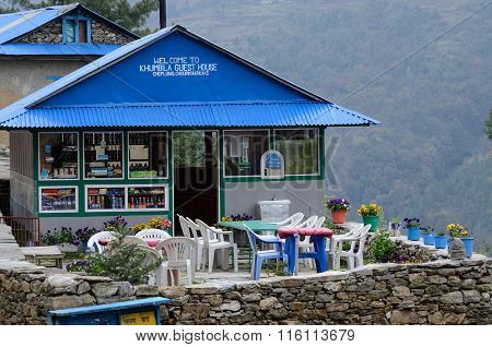 Guesthouse-cafe on the way to Everest base camp,Nepal