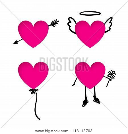 Valentine's Day Heart Stickers With Doodle Details