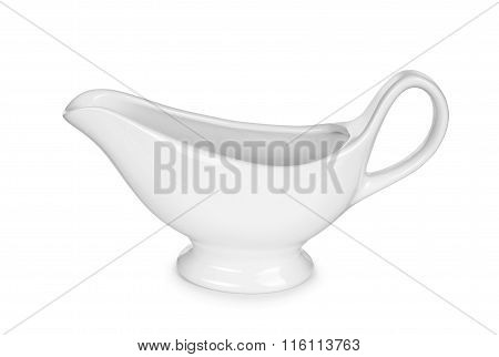 Empty Gravy Boat On An Isolated White Background