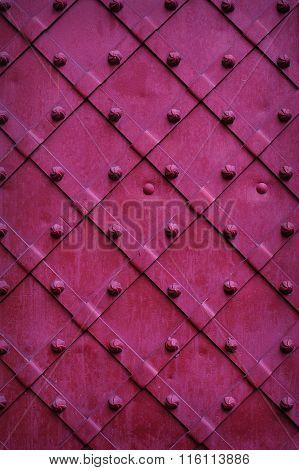 Texture Chipped Metals Doors Dark Red Color