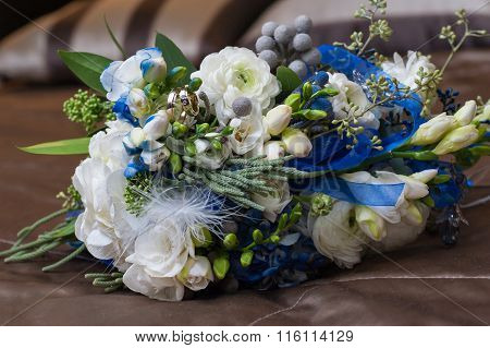 Bridal Bouquet Lying On Couch