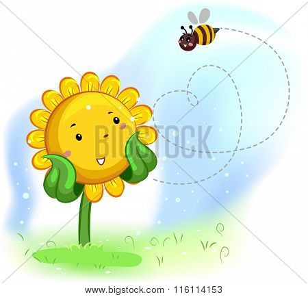 Mascot Illustration of a Sunflower Enjoying the bees