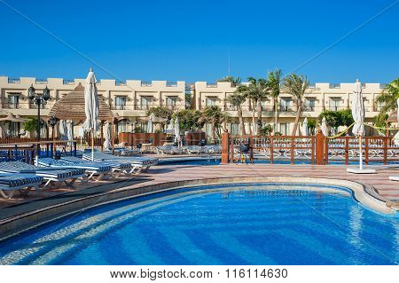 Sharm El Sheikh, Egypt, March 7, 2013: view of the pool at the Concorde El Salam Sport