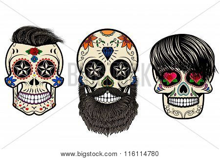 Bearded Skulls. Vector Illustration.