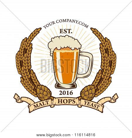 Beer Label Template. Vector Illustration.