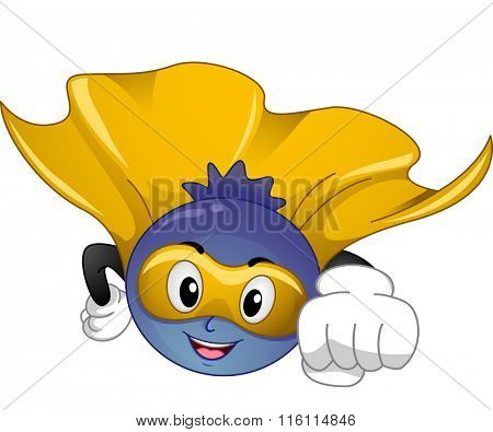 Mascot Illustration of a Blue Berry Superfood while flying