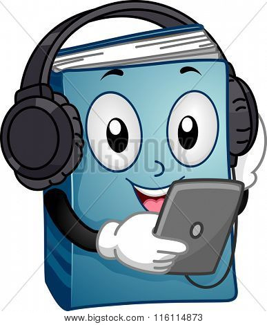 Mascot Illustration of a Book listening to an audio book version in a tablet