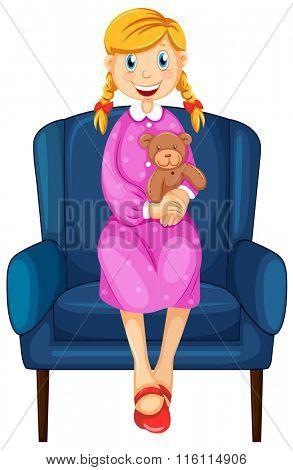 Little woman hugging teddy bear illustration
