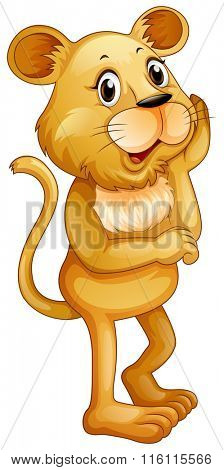 Cute little cub standing alone illustration