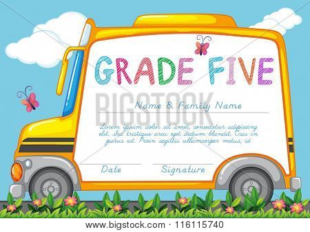 Certificate with background of schoolbus in the park illustration