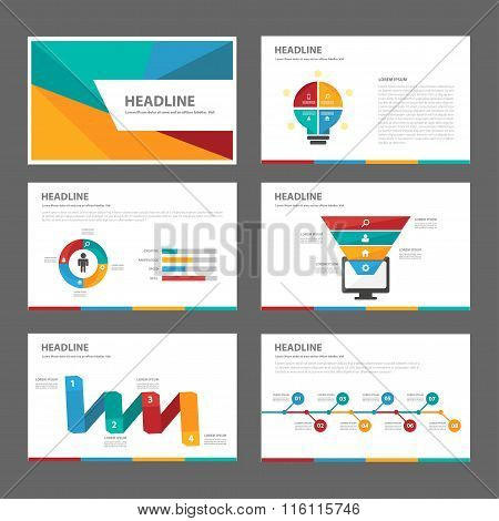 Colorful presentation templates Infographic elements flat design set