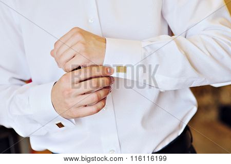 Man In A White Shirt Dress Cufflinks
