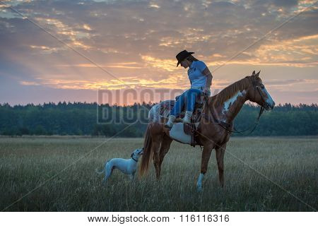 Girl Sit On The Red Appaloosa Horse