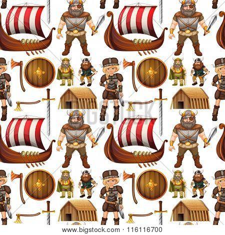 Seamless viking people and ship illustration