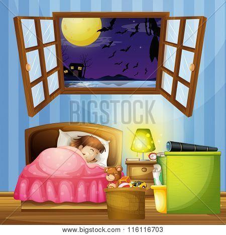 Little girl sleeping in the bedroom illustration