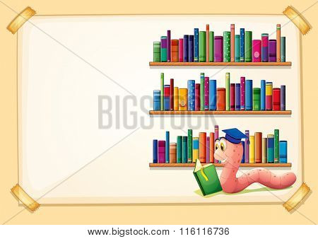 Border design with worm reading book illustration