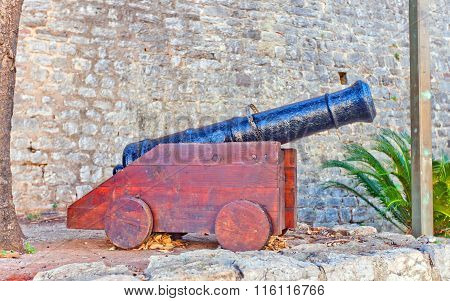 Medieval Cannon In Old Town Of Budva, Montenegro