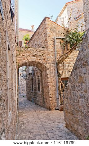 Narrow Streets Of Old Town Of Budva, Montenegro