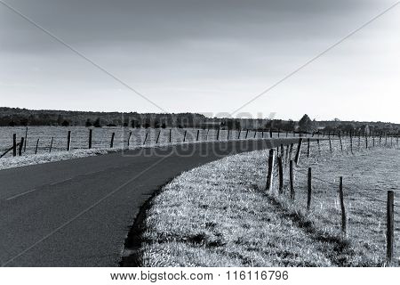 Winding Asphalt Road In Countryside Region Of France