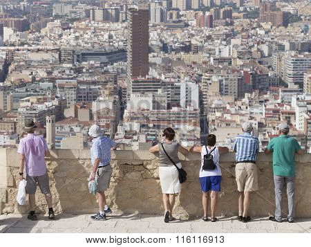People Admire The Surroundings Of Alicante
