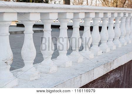 White Balustrade Pillars In Park