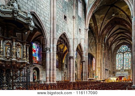 Cathedral Saint-georges In Selestat, Majestic Interior