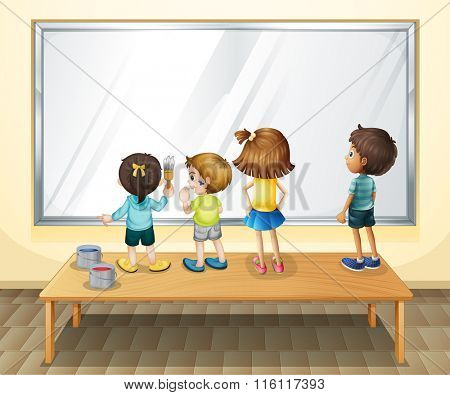 Children painting on the whiteboard illustration