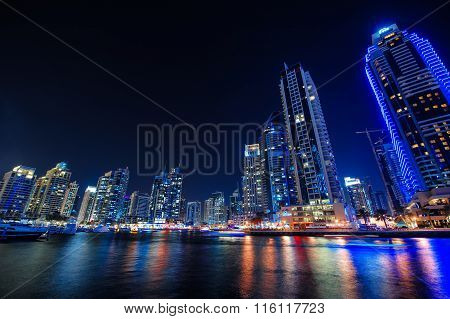DUBAI, UAE - Dec 4 : A skyline view of Dubai Marina showing the Marina