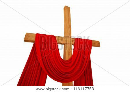 Christian Cross With A Red Cloth Isolated On A White Background