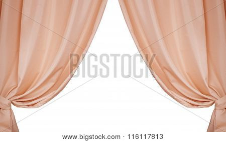 Beige Curtains Isolated On White Background