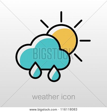 Rain Cloud Sun Icon. Meteorology. Weather