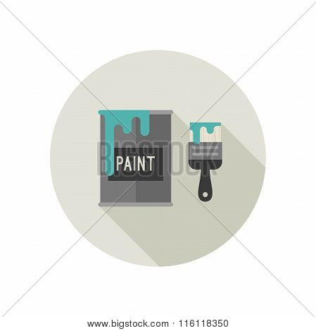 Paint brush and paint bucket icon