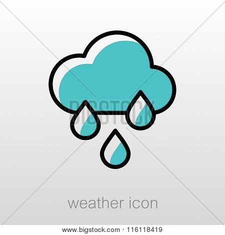 Rain Cloud Rainfall Icon. Meteorology. Weather