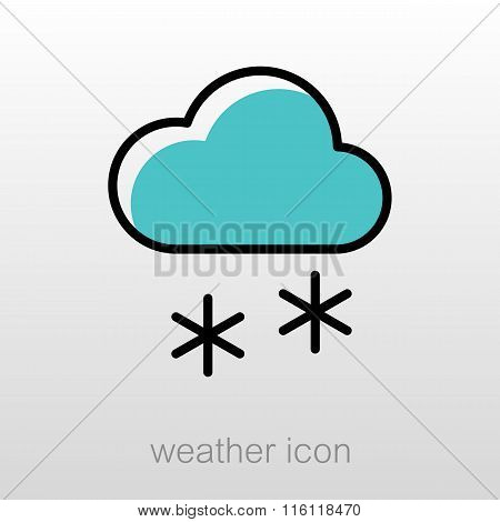 Cloud With Snow Icon. Meteorology. Weather