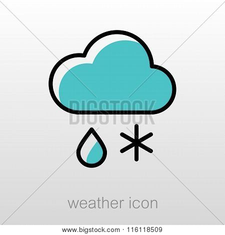 Cloud Snow Rain Icon. Meteorology. Weather
