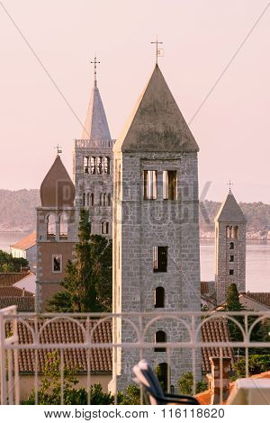 The Town Of Rab, Croatian Tourist Resort Famous For Its Four Bell Towers.