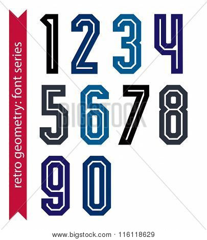 Poster Classic Style Acute-angled Numbers. Ordinary Vector Numeration For Advertising, Graphic, Prin