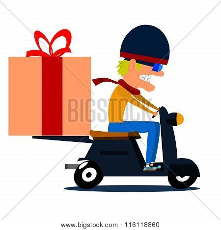 Cartoon Moped Driver With Cargo.