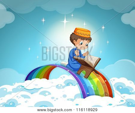 Muslim boy praying over the rainbow illustration