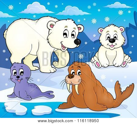 Various Arctic animals theme image 1 - eps10 vector illustration.