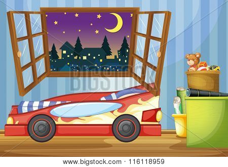 Kid bedroom with car shaped bed illustration