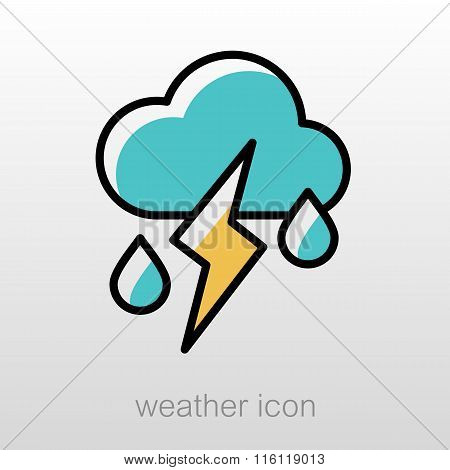 Cloud Rain Lightning Icon. Weather