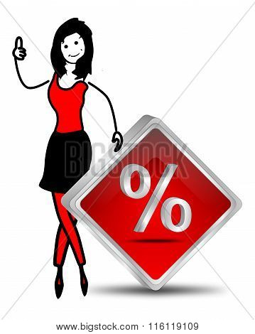 female stick figure with Discount button