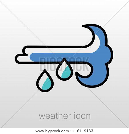 Wind Rain Icon. Meteorology. Weather